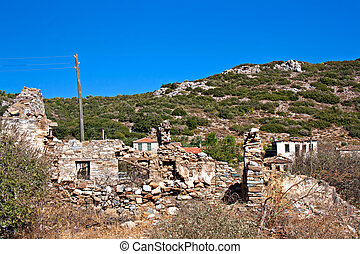 Old abandoned Greek/Turkish village of Doganbey, Turkey -...