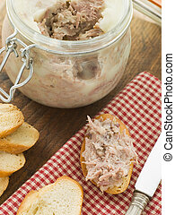 Rilette of Duck and Pork with Toasted Baguette Croutes