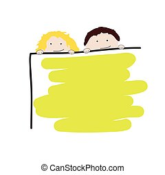 children with school board vector illustration