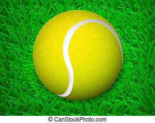 tennis ball on grass vector illustration background eps 10