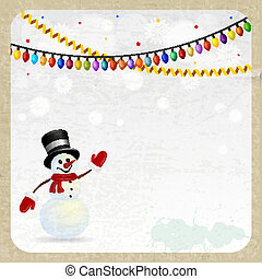 Christmas snowman on a retro  background