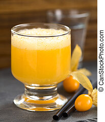 Peruvian Cocktail Called Aguaymanto (Physalis) Sour -...