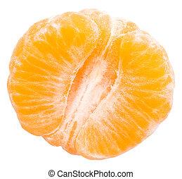 Half Peeled Orange Isolated On White