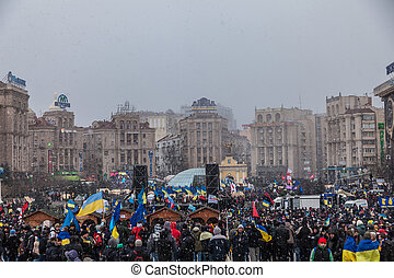 Protest on Euromaydan in Kiev against the president...