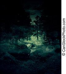 Twilight forest - Green foggy twilight forest, mystical...