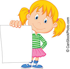 Cartoon girl holding blank paper - Vector illustration of...