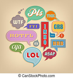 Comic bubbles with popular Acronyms & Abbreviations - A set...