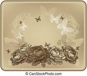 Vintage floral background with wild roses and butterflies....