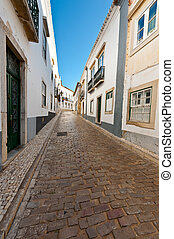 Faro - Narrow Street in the Medieval Portuguese City of Faro
