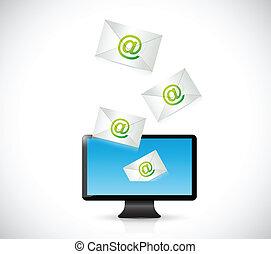 receiving mail on a computer. illustration design