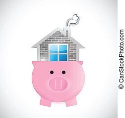 saving for a home. piggy and house illustration design over...