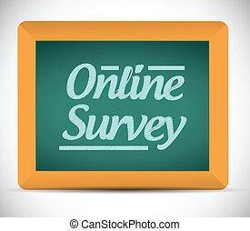 online survey message written on a blackboard.