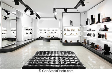 luxury shoe store with bright interior - Bright large shoe...