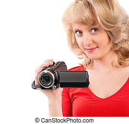 Close-up of a woman holding a home video camera