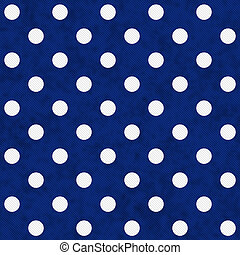 White Polka Dots on Blue Textured Fabric Background