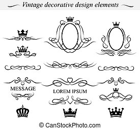 Decorative design elements Vector - Set of decorative design...