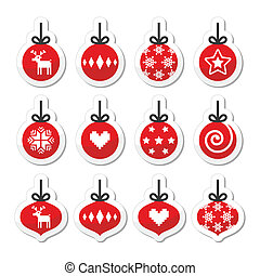 Christmas ball, bauble icons - Winter holiday labels set of...