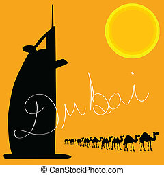 dubai with camel art vector illustration