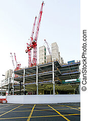 Building site - Street view of big construction site project...