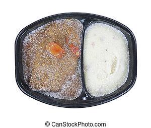 Frozen Meat Loaf Potato Gravy Meal - A prepared frozen...