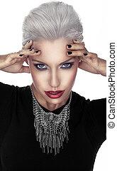 Woman in Gothic fashion