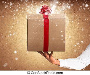 Magic gift - Gift with red ribbon with magic star effect
