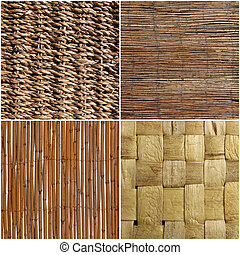 set of wicker wood texture or background