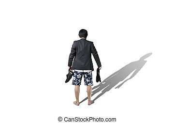 Rear view of businessman trying to make a choice on vacation...