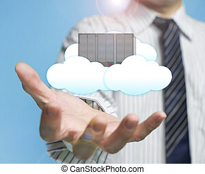 palm opening businessman with cloud and server cloud...