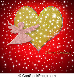 Merry Christmas greeting card heart and angel - Merry...
