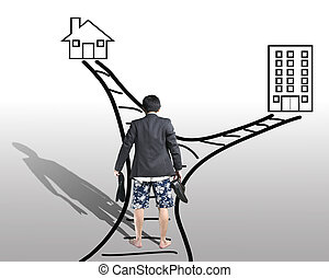 Work and family balance concept Rear view of businessman...