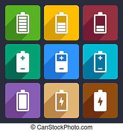 Battery flat icons set 22 - Battery power icons set for Web...