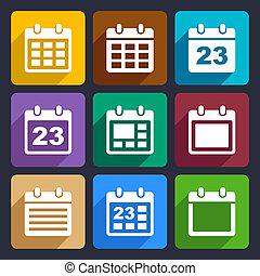 Calendar flat icons set 21 - Day calendar elements icons set...