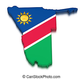 3D Namibia flag with fabric surface texture. White...