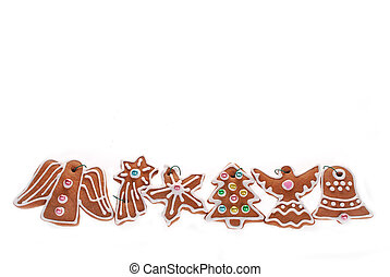 christmas border with gingerbread cookies isolated on white...