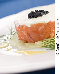 Tartare of Wild Salmon Creme Fraiche Cucumber Caviar and...