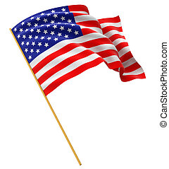 US Flag - Highres 3d rendering of US flag with fabric...