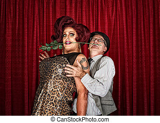 Dramatic Drag Queen with Man - Dramatic drag queen in...