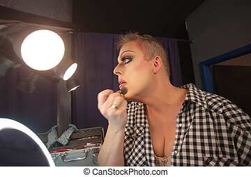 Man Preparing for Drag Queen Show - Man in dressing room...