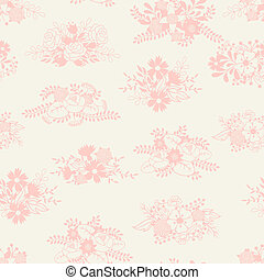 Romantic seamless pattern of floral bouquets in retro style....