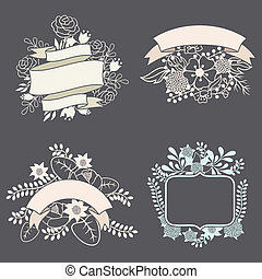 Set of design elements with ribbons, labels and flowers
