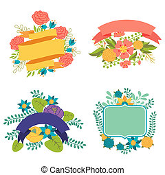Set of design elements with ribbons, labels and flowers .