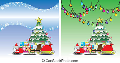 Santa and reindeer on the Christmas