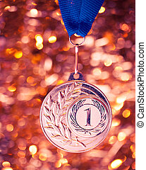 first place golden medal on shiny background
