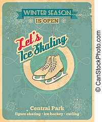Ise skate retro poster - Winter season is open, so let's ice...