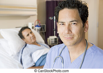 Doctor Standing In Patients Room