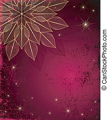 Dark red grungy Christmas frame with gold snowflake and...