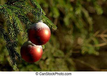 Red and white Christmas balls on a tree