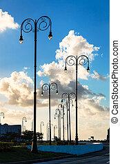 street lights at sunset in Havana