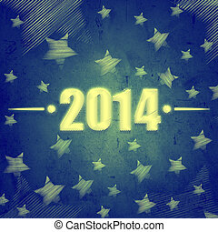 new year 2014 over blue retro background with stars